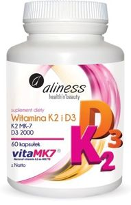 Aliness Vitamin K2 MK-7 100 μg from Natto + D3