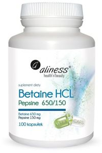 Betaine HCL, Pepsin 650/150 mg x 100 capsules
